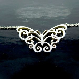 Tiffany Filigree Butterfly Pendant Necklace 925